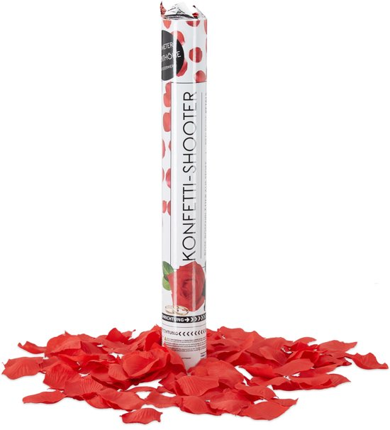 relaxdays confetti kanon rozenblaadjes rood - party popper voor bruiloft - shooter