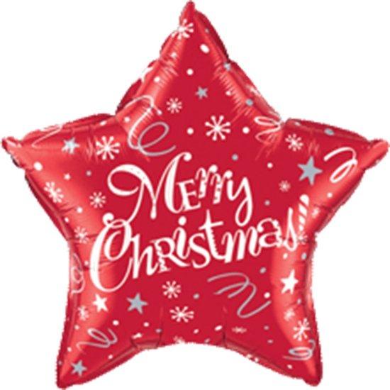 Folieballon Merry Christmas star rood