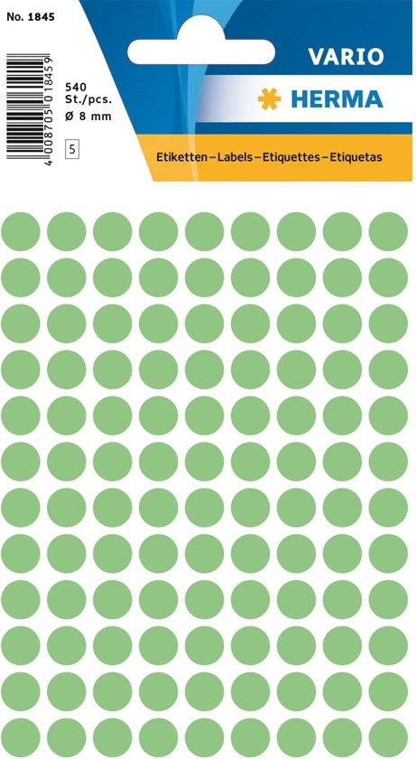 Huismerk Herma 1845 Etiket Rond 8mm Groen - Pakje met 5 velletjes stickers