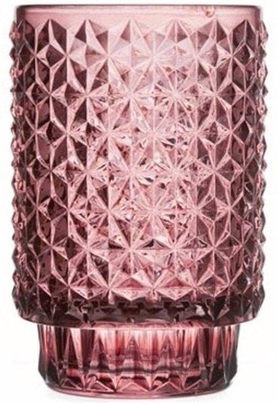 Theelichthouder Vienna bordeaux rood glas 13 cm