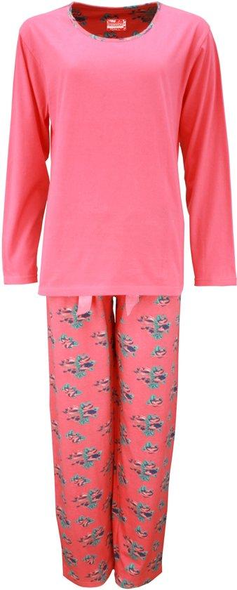 5d614d6174a bol.com | Dames pyjama van 100 % katoen met gebloemde broek. Roze C11