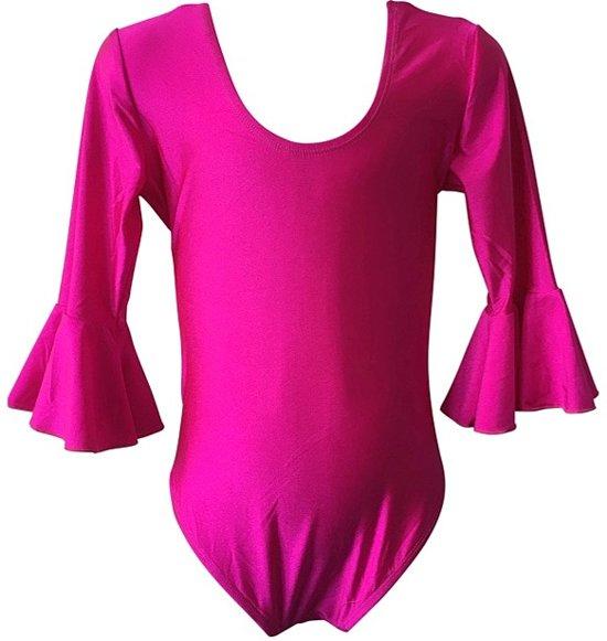 Ballet pakje fuchsia roze - met 3/4 mouw - maat 10 - 128-134