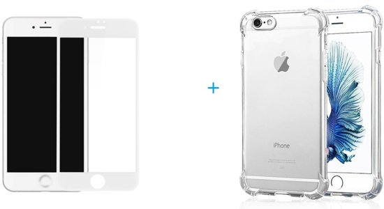 Full cover Glazen screenprotector | Tempered glass | Gehard glas voor iPhone 6/6S + Shock Proof Case met versterkte randen