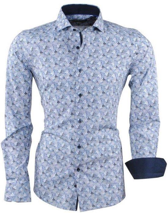 Overhemd Getailleerd Heren.Bol Com Dom Tower Heren Overhemd Met Trendy Design Blauw