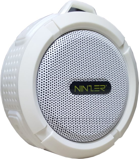 Ninzer Waterdichte Bluetooth Draadloze Speaker voor Douche, Bad of in de Auto | Wit