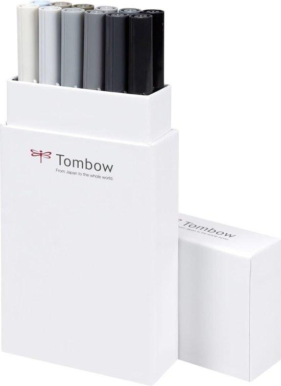 Tombow ABT Dual-Brush tekenpennen - Grijze kleuren - Set van 12