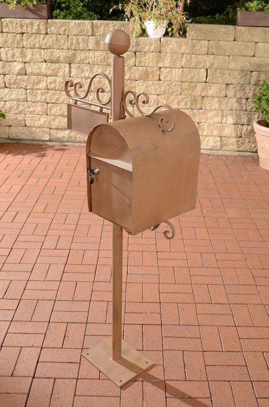 Clp Brievenbus CHARLIZE, vrijstaande nostalgische brievenbus, mailbox, 150 cm, met naamplaatje, ontwerp nostalgisch antiek - antiek-bruin