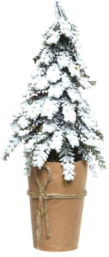 Kerstboom In Pot.Kerstboom In Pot 16x33cm Groen Wit Kerstartikelen