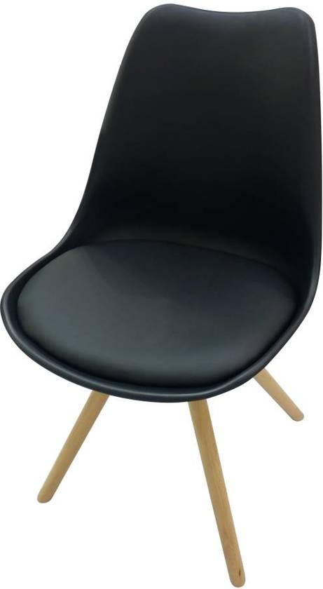 Duverger set 4 kuipstoelen kunststof zwart houten poten - Houten plastic stoel ...