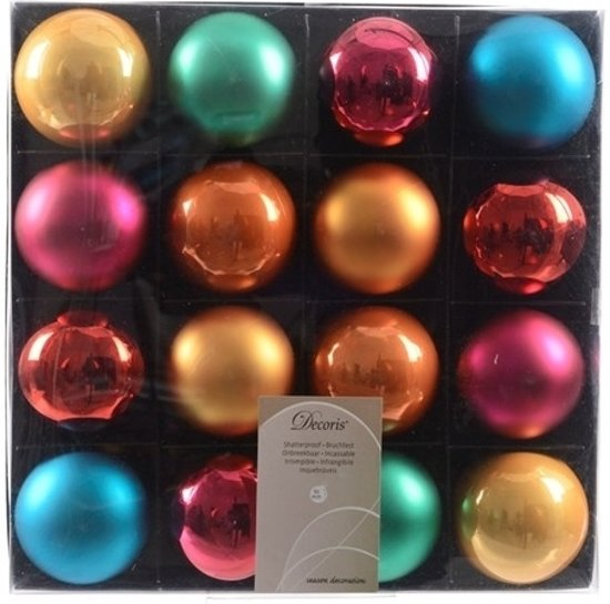 Bol Com Gekleurde Kerstballen Mix 16 Stuks Plastic Kerstballen