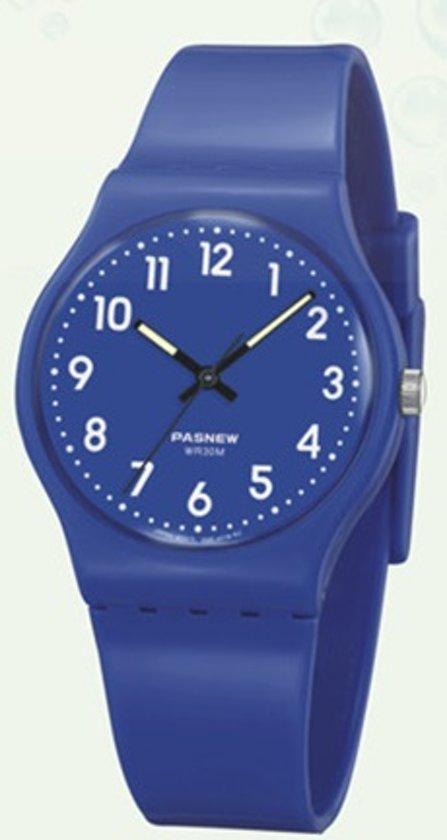 Pasnew - tiener horloge - blauw - 32 mm - I-deLuxe verpakking