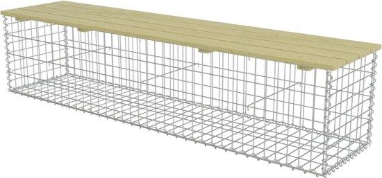 vidaXL Gabion bank 180 cm gegalvaniseerd staal en FSC grenenhout