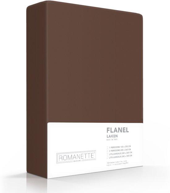 Romanette flanellen laken - Taupe - Lits-jumeaux (240x260 cm)
