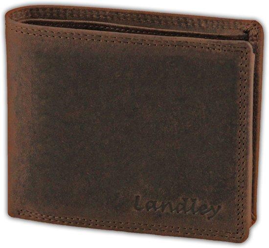 Landley Vintage Portemonnee - Billfold Model - Leer - Bruin