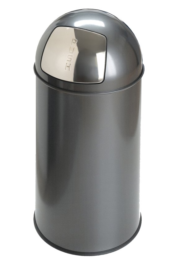 Afbeelding van Grijze Pushcan Afvalbak Met Pushdeksel - Grijs - EKO