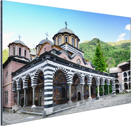 Rila klooster Bulgarije Aluminium 120x80 cm - Foto print op Aluminium (metaal wanddecoratie)