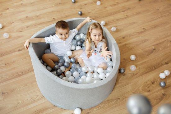 FUJL - Ballenbak - Speelbak - Donker blauw - ⌀ 90 cm - 200 ballen - Kleuren - zwart - Parel  -Wit - Transparant