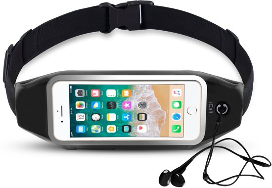 Heupband Running Belt iCall – Hardloopband Sportband Riem met Smartphone Houder – Hardloopriem Gordel Heuptas voor Fitness en Hardlopen (Apple, Samsung, Huawei, HTC, LG, Sony)