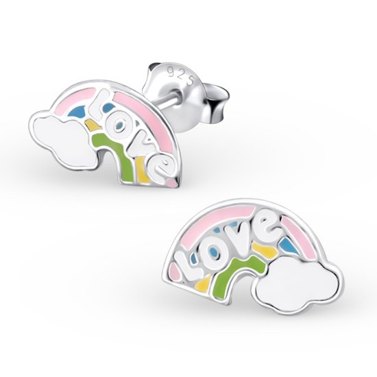 Amanto Kids Oorbellen Gaitlin - Meisjes - 925 Zilver E-Coating - Epoxy - Regenboog  - 10x6 mm