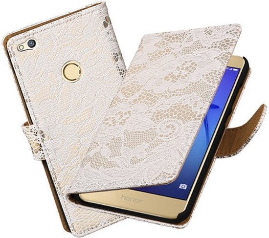 BestCases.nl Wit Lace booktype wallet cover hoesje voor Huawei P8 Lite 2017 / P9 Lite 2017