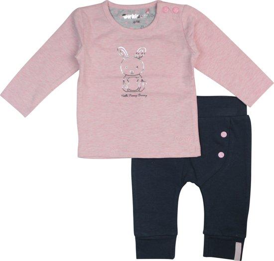 b84abd7b6138d4 Dirkje Meisjes T-shirt (2 pk) - Pink melee + navy - Maat