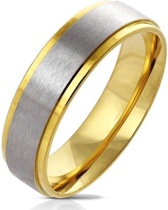 Ring Dames - Heren Ring - Goudkleurig - Goud Kleur - Ring met Uniek Zilverkleurig Middenstuk - Centro