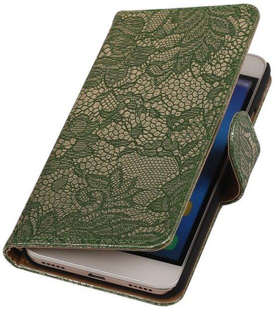 Hoesjes Cases - Donkergroen bloem bookstyle voor de Huawei Y6 wallet case hoesje booktype - bookstyle - Book Case Huawei Y6 Wallet Case - hoesje in Ruinerwold