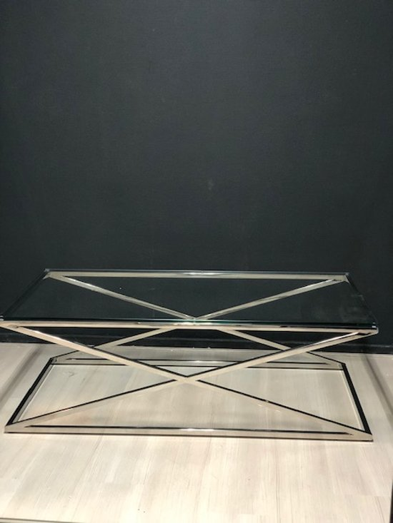 Salontafel Glas Met Chroom.Bol Com Luxuryliving Cross Salontafel Chroom