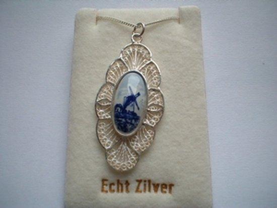 Souvenir Collier 42 cm - Zilver met Delftsblauw steentje 18 mm