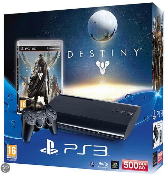 Sony PlayStation 3 Console 500GB Super Slim + 1 Wireless Dualshock 3 Controller + Destiny  - Zwart PS3 Bundel kopen