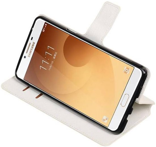 Mobieletelefoonhoesje.nl - Samsung Galaxy C9 Hoesje Cross Pattern TPU Bookstyle Wit in Heppen