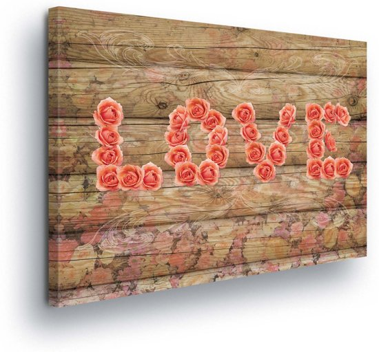 Floral Roses Wood Love Canvas Print 100cm x 75cm