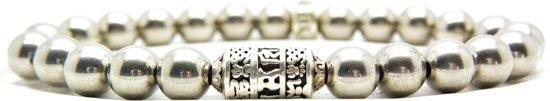Beaddhism - Armband - Mantra - 8 mm - Zilver - Hematiet - 18 cm