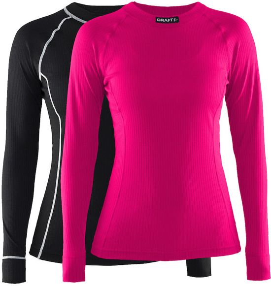 Craft Active 2-Pack Tops Thermoshirt Dames - Black/Fantasy