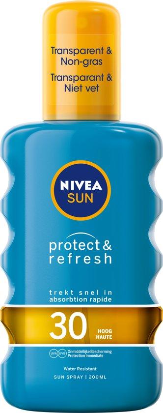 NIVEA SUN Zonnebrand - Protect & Refresh Transparante Zonnebrandspray - SPF 30 - 200 ml