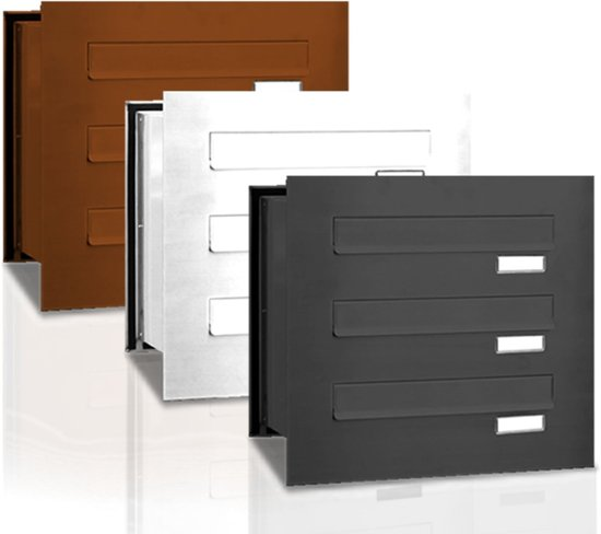 Inbouw brievenbus 3 adressen (1x3) inbouw
