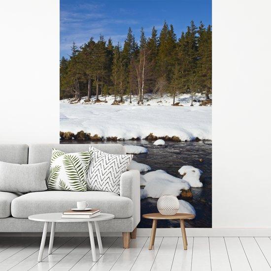 Fotobehang vinyl - De rivier de Muick in het Nationaal park Cairngorms tijdens de winter breedte 190 cm x hoogte 280 cm - Foto print op behang (in 7 formaten beschikbaar)