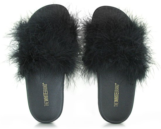 The White Brand - Feathers - Badslippers - Dames - Maat 39 - Zwart - Black