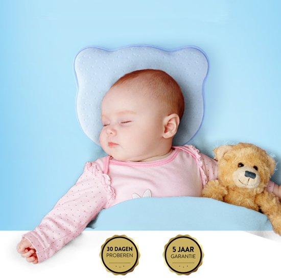 COMFY® Ergonomisch Babykussen tegen Plat Hoofd - Baby Kussen - Voorkeurshouding Baby - Plat Achterhoofd Baby - Hoofdkussen - Voorkom Plat Hoofd - Geurloos - Traagschuim - Blauw