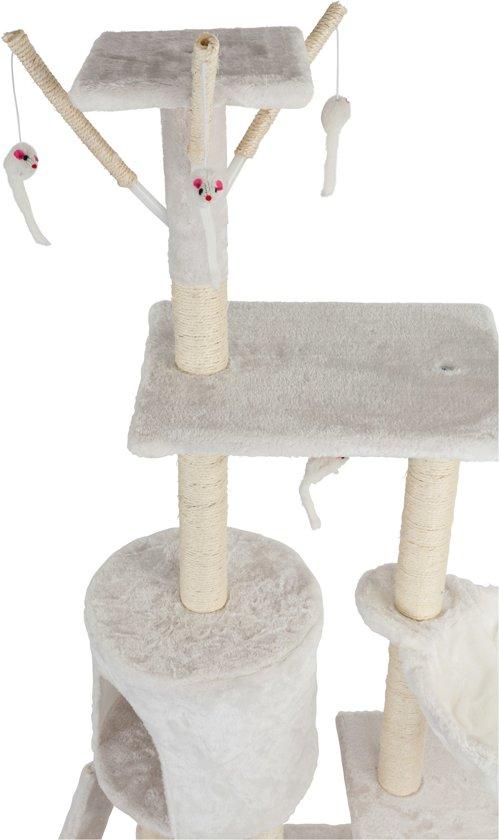 Krabpaal, kattenkrabpaal, kattenpaal, 138 cm, creme