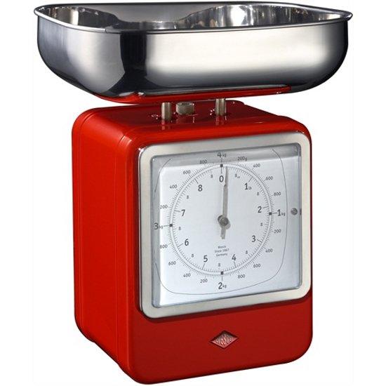 Wesco Keukenweegschaal met klok Rood