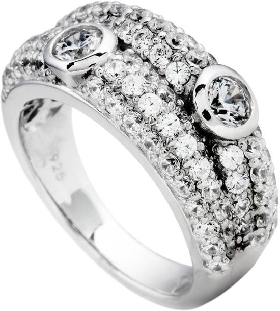 Diamonfire - Zilveren ring met steen Maat 19.0 - Pave bezet - 2 zirkonia in kastzetting