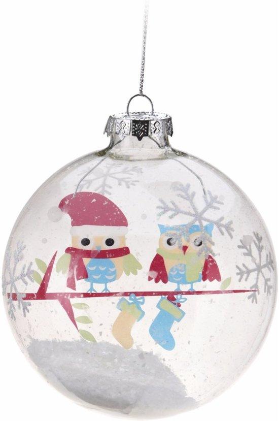 Bol Com Kerstboom Decoratie Kerstbal Met Uiltjes Blauw