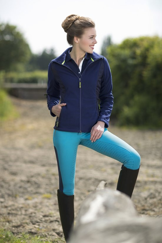 HKM Fleece/Nylonjas -Neon Sports- donkerblauw 140