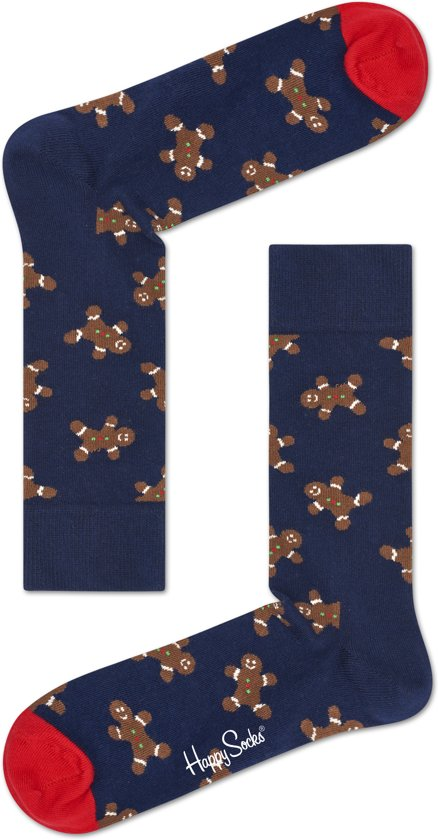 Happy Socks - Happy Holiday - kerst sokken - Gingerbread - Donkerblauw Multi - Unisex - Maat 41-46