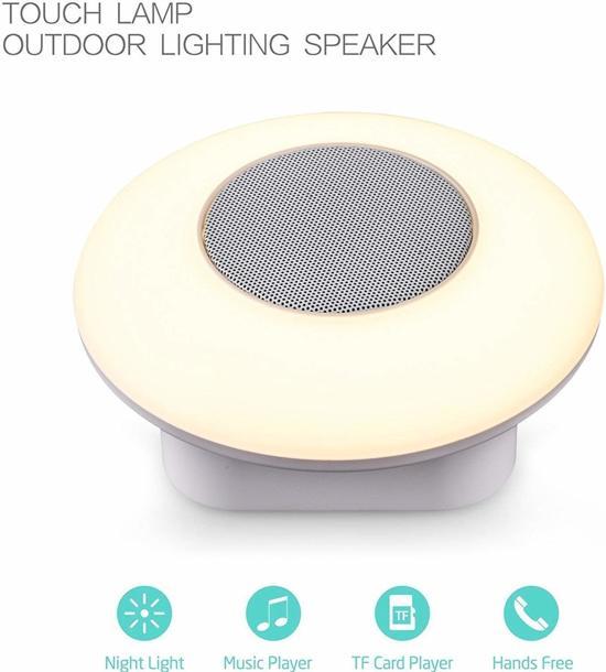 Platte Draadloze draagbare luidspreker met Bluetooth, met kleurrijke Smart Touch dimbare lichtverandering / nachtlampje Handsfree luidspreker, …