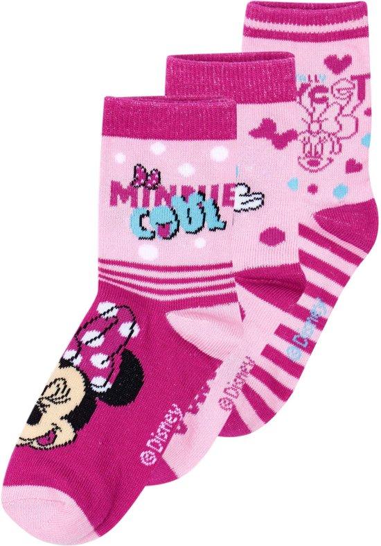 Disney-Minnie-3-pak-sokken-fuchsia-Schoenmaat-27-30