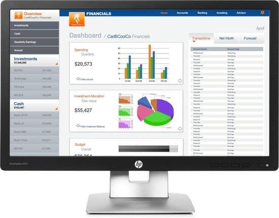 HP EliteDisplay E232 23'' Full HD LED Mat Zwart computer monitor