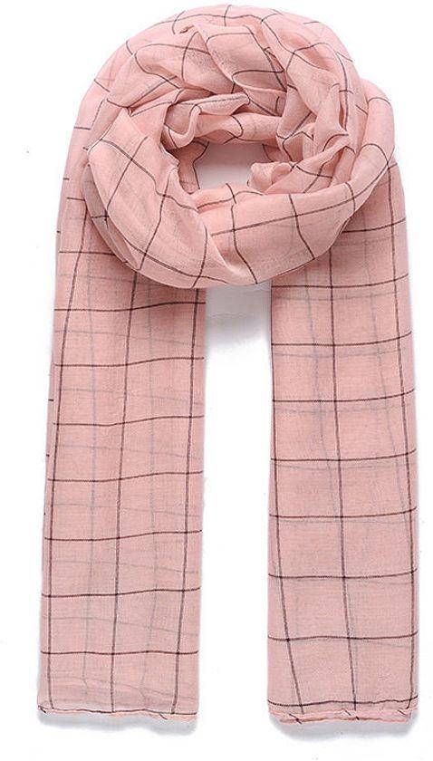 Sjaal roze met blokmotief