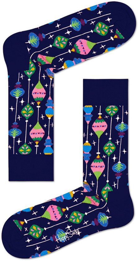 Happy Socks - Happy Holiday Christmas - kerstbal- Blauw Multi - Unisex - Maat 41-46